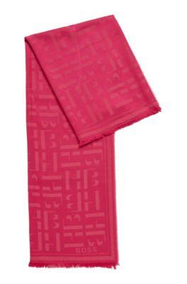 Sciarpa quadrata in modal e lana con monogramma stampato, Rosa