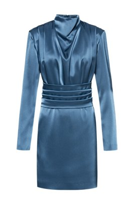 Lustrous long-sleeved dress with detachable belt, Dark Blue