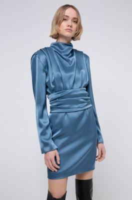 Hugo Lustrous Long Sleeved Dress With Detachable Belt