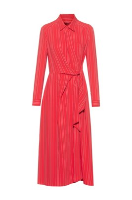 Striped shirt dress with wrap-effect front, Red