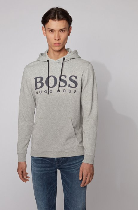 Logo-print hooded sweatshirt in cotton terry, Grey