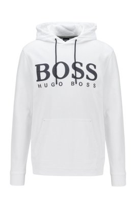 Sudadera con capucha de rizo de algodón con estampado del logo, Blanco