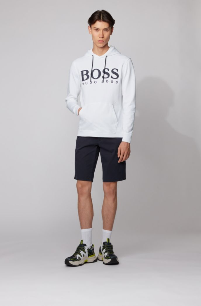 Sudadera con capucha de rizo de algodón con estampado del logo