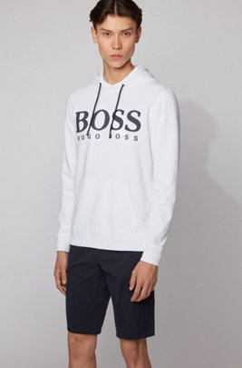 Kapuzen-Sweatshirt aus Baumwoll-Terry mit Logo-Print, Weiß
