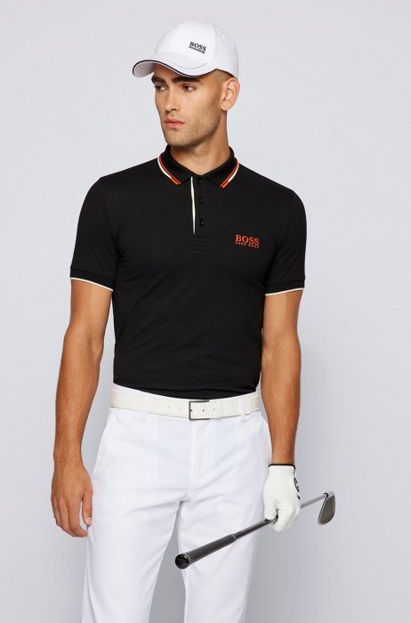 Active-stretch golf polo shirt with S.Café®, Black