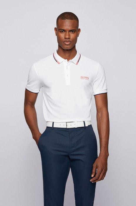 Active-stretch golf polo shirt with S.Café®, White