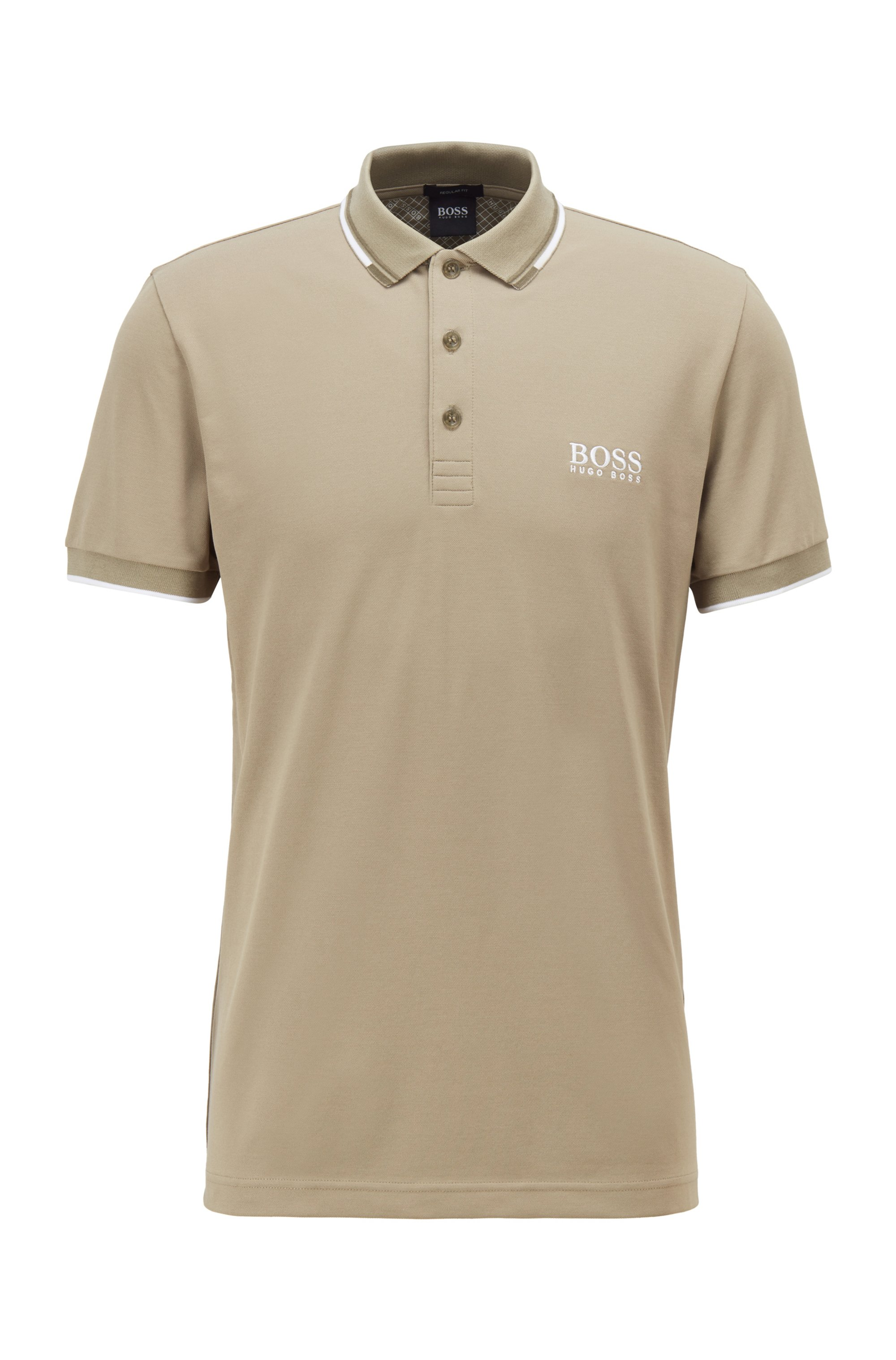 Active-stretch golf polo shirt with S.Café®, Beige