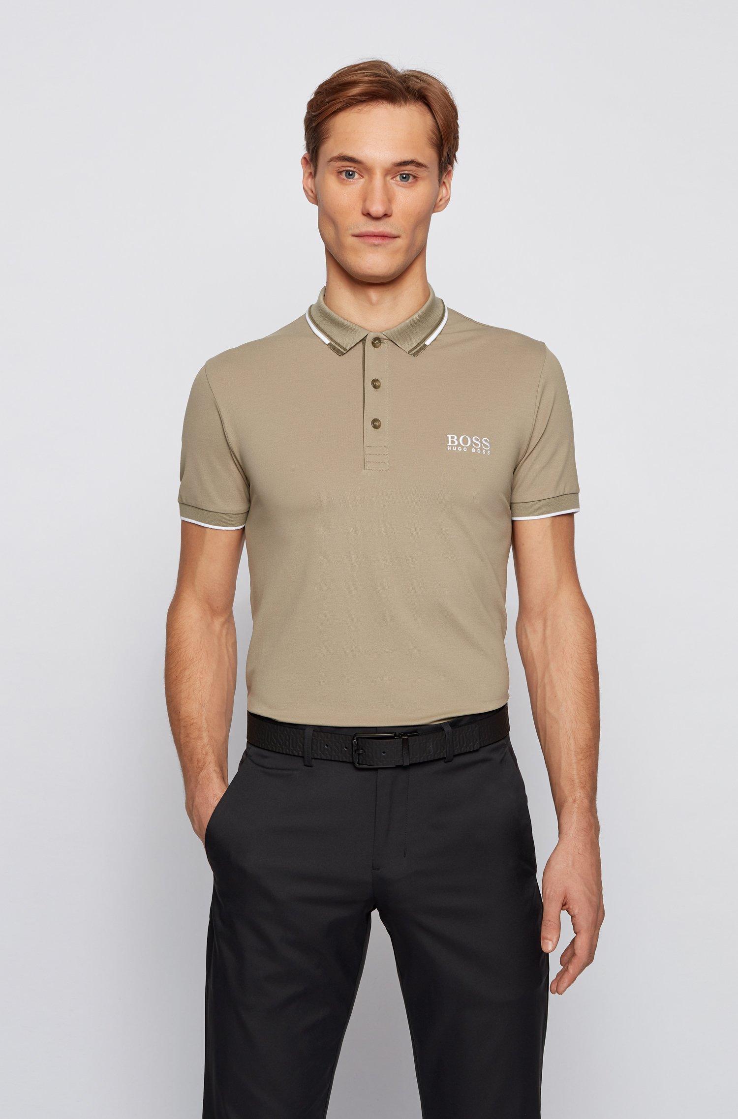 Active-stretch golf polo shirt with S.Café®, Beige