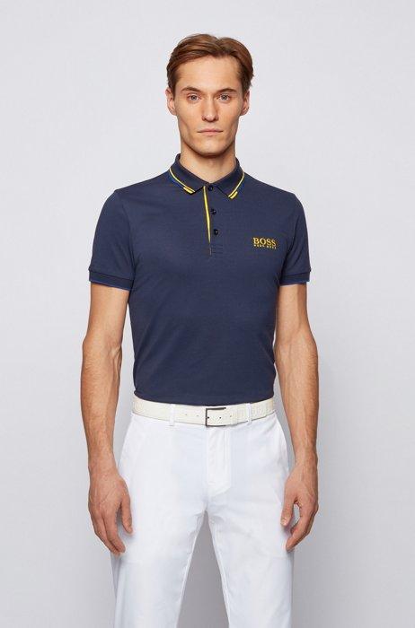 Golf-Poloshirt aus Stretch-Baumwolle mit S.Café®, Dunkelblau