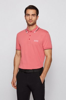 Active-stretch golf polo shirt with S.Café®, Light Red