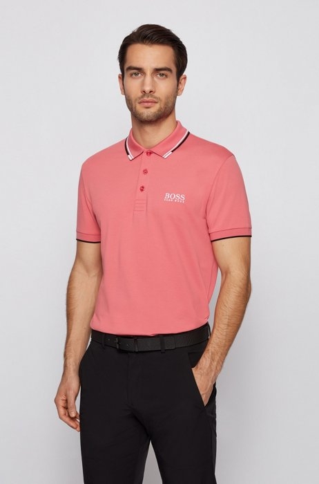 Golf-Poloshirt aus Stretch-Baumwolle mit S.Café®, Hellrot
