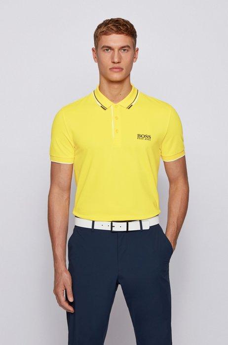 Golf-Poloshirt aus Stretch-Baumwolle mit S.Café®, Gelb
