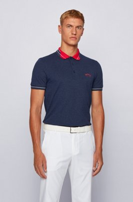 Logo-collar slim-fit polo shirt in S.Café® fabric, Dark Blue