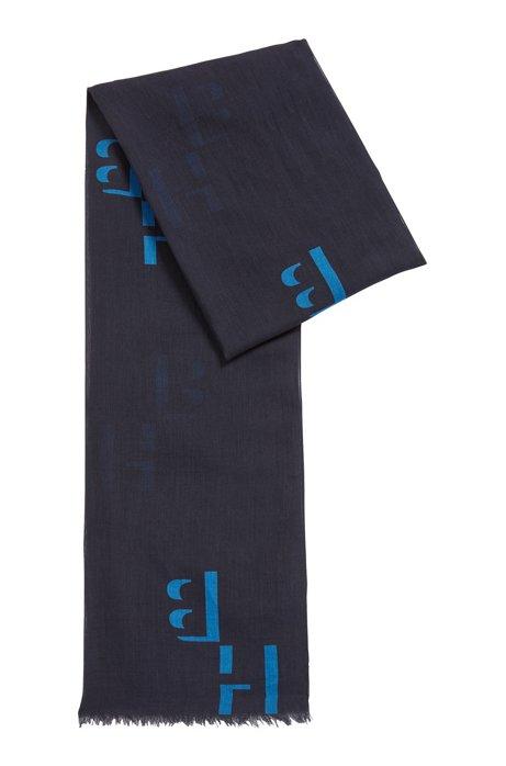 Sciarpa in modal e cotone con stampa del monogramma, Blu scuro