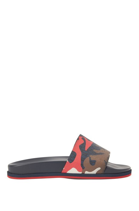 Camouflage-print slides with contoured footbed and monograms, Dark Blue