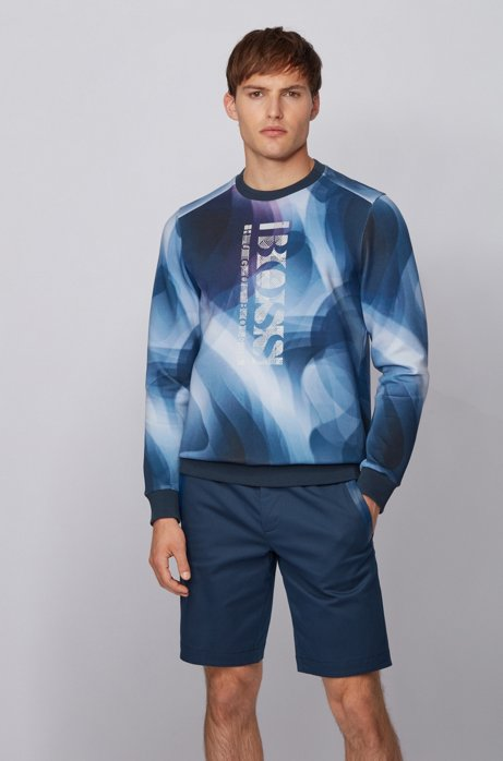 Slim-fit sweatshirt with all-over digital print, Dark Blue