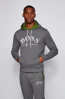 Logo-print hooded sweatshirt in a double-faced cotton blend, Grey