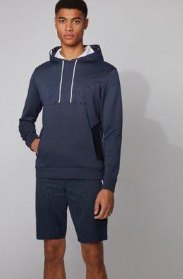 Kapuzen-Sweatshirt aus zweiseitigem Baumwoll-Mix mit Logo-Print, Dunkelblau