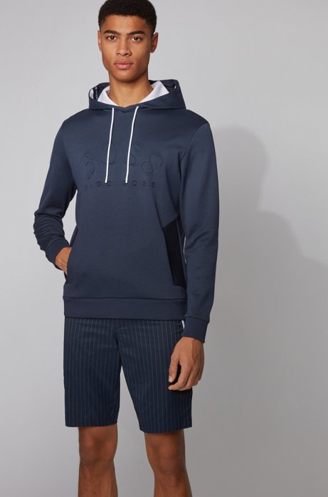 Logo-print hooded sweatshirt in a double-faced cotton blend, Dark Blue