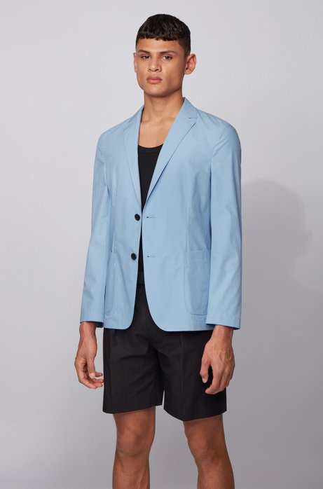 Slim-fit jacket in pure cotton with patch pockets, Light Blue