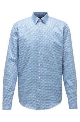 Regular-fit overhemd van katoenen satijn met een luipaardprint, Blauw