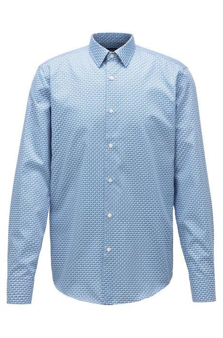 Regular-fit shirt in leopard-print cotton satin, Blue
