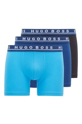 Three-pack of boxer briefs with logo waistbands, Patterned