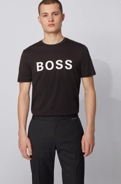 Logo-T-shirt in single-jersey van een katoenmix, Zwart