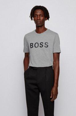Logo T-shirt in a single-jersey cotton blend, Silver