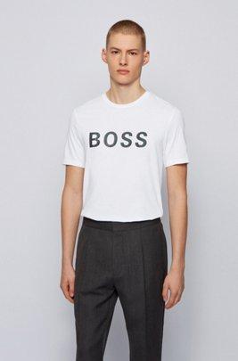 T-shirt con logo in jersey di misto cotone, Bianco