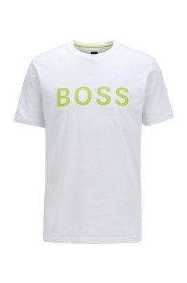 T-shirt à logo en jersey simple de coton mélangé, Blanc