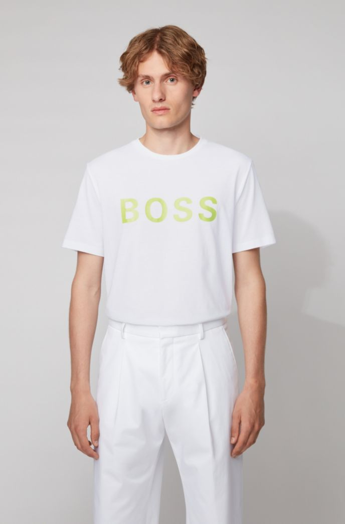 T-shirt à logo en jersey simple de coton mélangé