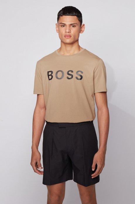 T-Shirt aus Single Jersey mit Logo, Beige