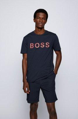 Logo T-shirt in a single-jersey cotton blend, Dark Blue