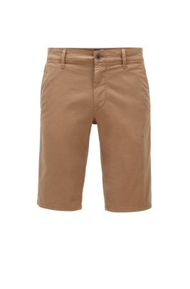 Slim-fit chino shorts in lightweight stretch-cotton twill, Beige