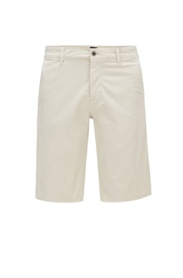 Slim-fit chino shorts in lightweight stretch-cotton twill, ライトベージュ