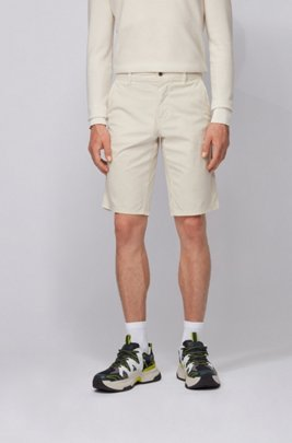 Short chino Slim Fit en twill de coton stretch léger, Beige clair