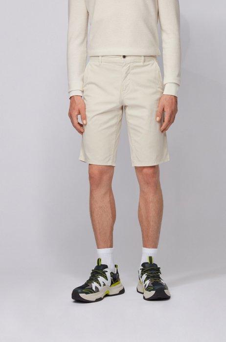 Bermuda chino slim fit in twill di cotone elasticizzato leggero, Beige chiaro