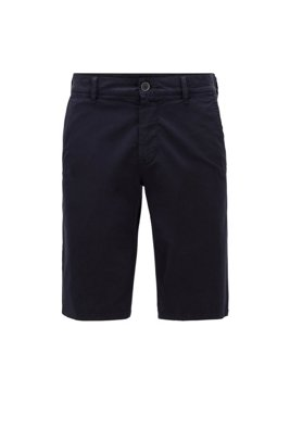 Short chino Slim Fit en twill de coton stretch léger, Bleu foncé