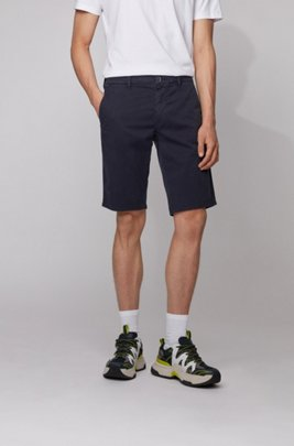 Slim-fit chino shorts in lightweight stretch-cotton twill, Dark Blue