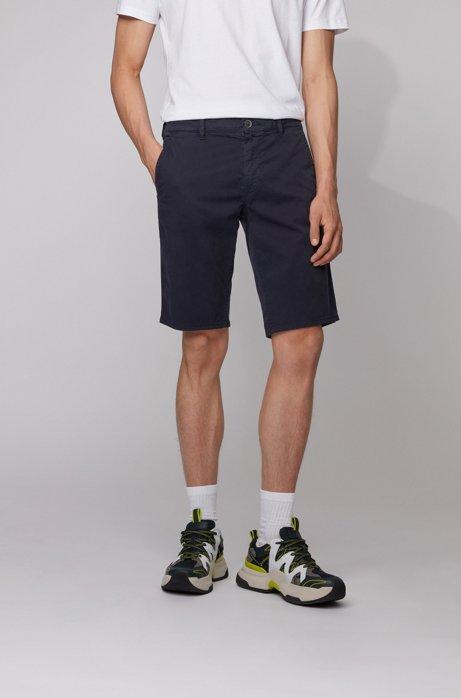 Shorts chinos slim fit en sarga de algodón elástico, Azul oscuro