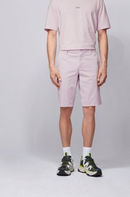 Slim-fit chino shorts in lightweight stretch-cotton twill, ライトピンク