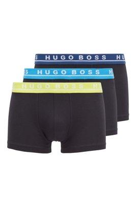 Lot de trois boxers en coton stretch avec taille à logo, Fantaisie