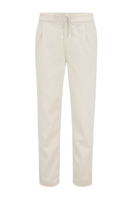 Tapered-fit pleat-front trousers with drawstring waistband, Light Beige