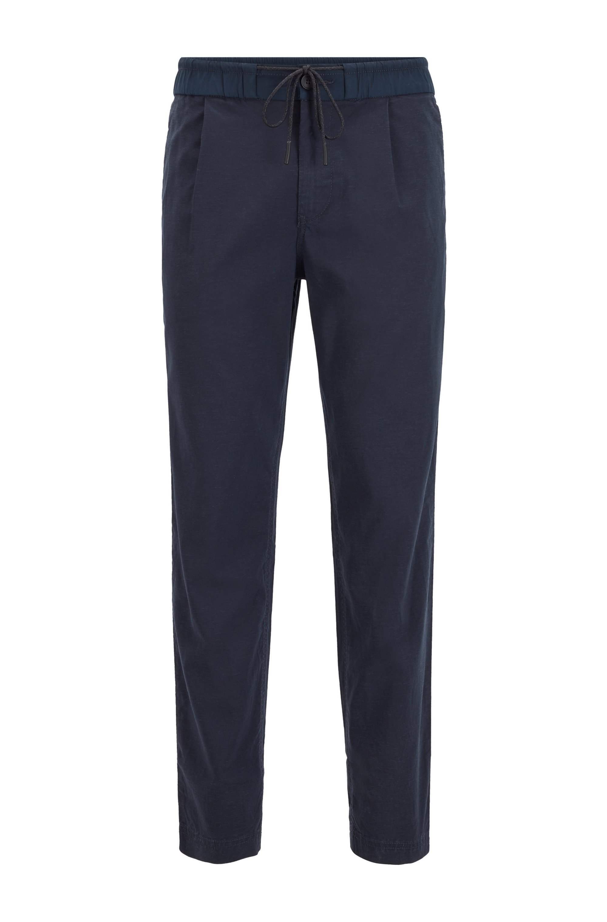 Pantaloni con pince con fit affusolato e vita elastica con coulisse, Blu scuro