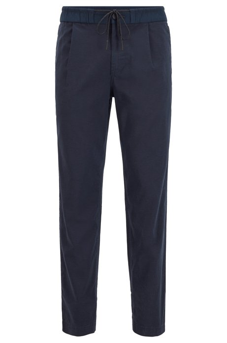 Tapered-fit pleat-front trousers with drawstring waistband, Dark Blue
