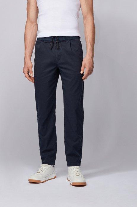 Pantalones de pinzas tapered fit con cordón en la cintura elástica, Azul oscuro