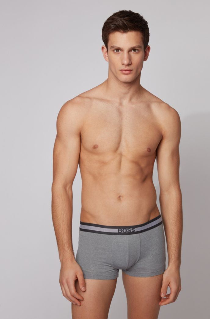 Melange cotton-blend jersey trunks with Coolmax®