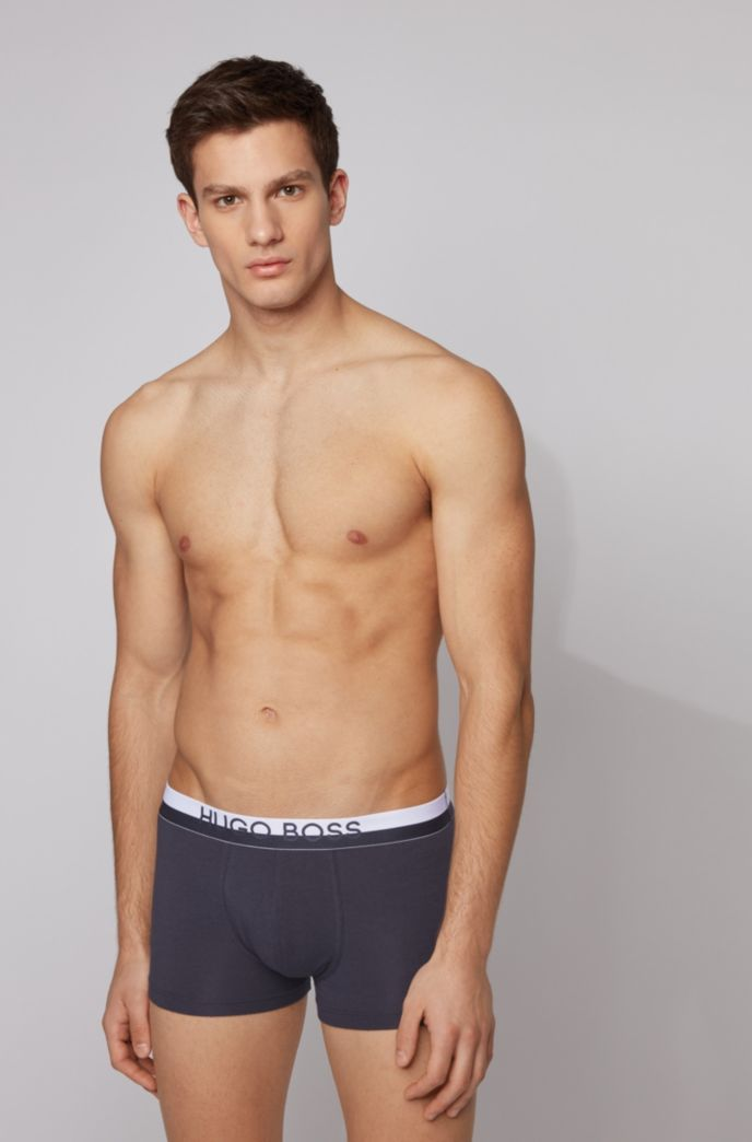Boxer en tissu stretch à logo et taille bicolore