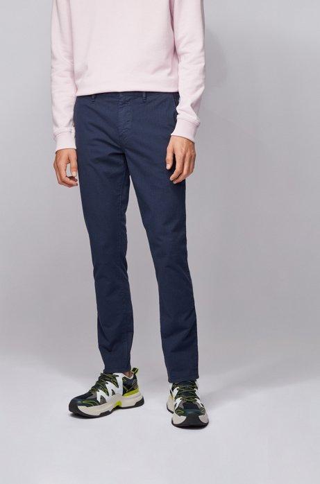 Slim-Fit Chino aus Stretch-Baumwolle mit dezentem Muster, Dunkelblau